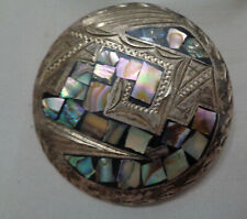 """Abalone Shell 2"""" Circle Early Mexican Pendant/Brooch W, Inlay"""