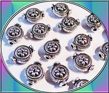 20 Metallspacer Metallperlen mit Muster antik silberfarben 10 mm nickelfrei