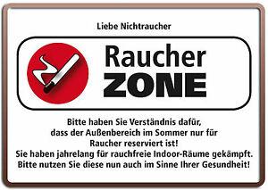 Raucher ZONE Funschild Fun Schild Blechpostkarte Blechschild 10,5 x 14,8 cm
