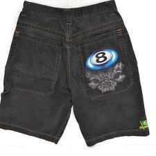 JNCO 8 Ball Jean Shorts  Mens Size 32 Brazil Flag Embroidered Black Denim