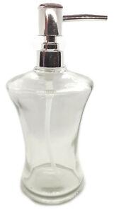 Empty Glass Pump Bottle Liquid Dispenser Refillable 300ml