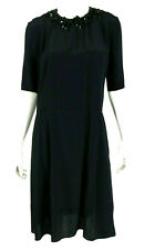 MARNI Midnight Blue Crepe Black Resin Crystal Beaded Neckline Dress 44
