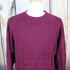 ORVIS Men's Large VINTAGE Crewneck Sweater Maroon Cotton