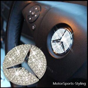 Cristallo Beige Volante Inserti Emblema Distintivo Adesivo Bling per Mercedes