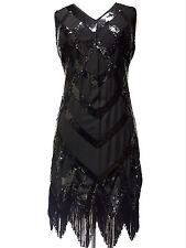 Great Gatsby Flapper Downton Charleston 1920s Sequin Tassle Hem Dress 8 - 18 Size 12 Black