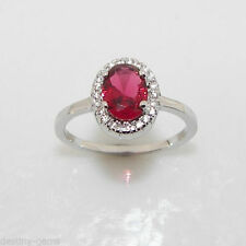Unbranded Cluster Ruby Sterling Silver Fine Rings