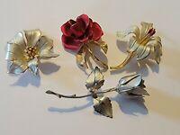 Vintage Signed Giovanni Cerrito Flower Enamel Brooch Lot