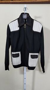 Vintage 60s 70s Mod Italian Knit Leather Black White Full Zip Shirt XL