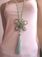 Modekette Damen Hals Kette lang Leder Silber Grün Schmetterling Lagenlook Boho