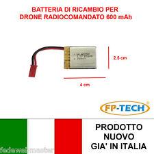 BATTERIA RICAMBIO DRONE X3 RADIOCOMANDATO 600 mAh 3,7 V QUADRICOTTERO ELICOTTERO