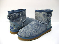 UGG MINI STOUDDED BLING WOMEN BOOTS SUEDE LIGHT DENIM US 9 /UK 7.5 /EU 40