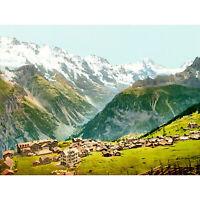 PAINTING MÜRREN BERNESE OBERLAND SWITZERLAND MOUNTAINS VILLAGE NEW FINE ART PRIN