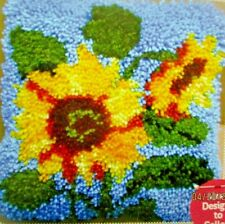 """LATCH HOOK  FLORAL RUG/ PILLOW  KIT  """"SUNFLOWERS"""" LATCH TOOL INCLUDED"""