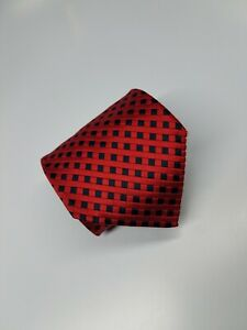 Ermenegildo Zegna Silk Tie Red Black Checks Geometric Made Italy (2029)