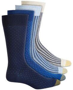 Gold Toe Men's Knit 4 Pack Crew Socks, Gingham Blue