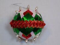 Christmas Ball Vintage Old Tree Ornament Pearl Red Green Metallic Ribbon Holiday