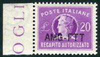 1954 Trieste A Recapito autorizzato 20 lire nuovo gomma integra ** centrato