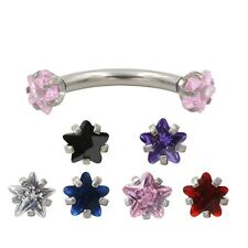 UK Crystal CZ gem 316L STAR Prong Set Eyebrow Ear Curved Banana Bar Piercing