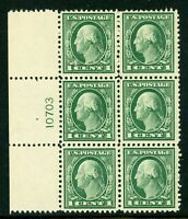 USA 1917 Washington 1¢ Perf 11 Flat Plate Scott 498 Plate # Block of 6 MNH K148
