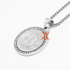 "24"" Stainless Steel Silver Lab Diamond Bitcoin QR Pendant Necklace 3mm Box Chain"