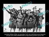 OLD POSTCARD SIZE PHOTO AUSTRALIAN MILITARY WWII VAD NURSES HMS FORMIDABLE 1945