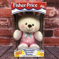 NEW Vintage Fisher Price #73727 Moonlight Dreams Bunny Plush Satin Ears 1997 NIB