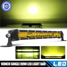 10'' slim Led Light Bar Combo Single Row Work Driving Lights SUV Amber Fog Light