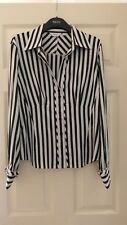 STYLISH NEXT LADIES BLACK & WHITE STRIPE SILKY WORK/FORMAL SHIRT SIZE 16 - USED