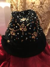 Vtg Yves Saint Laurent Jeweled Fedora Trilby Hat Black Felt Wool 1960s ?