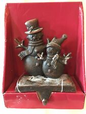 2 SNOW COVERED SNOWMEN ON 1 CAST IRON CHRISTMAS STOCKING HOLDER W/ HOOK COND: VG
