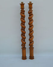 Walnut Wooden Posts Pillars Architectural Twist Spiral Turn Columns French Decor