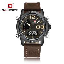 9d95b032b Naviforce Dual Display Quartz Digital Men Sport Watch Leather Strap US Stock