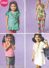 NEW McCalls 6689 MP291 Girls Wrap Tops or Dress Skirt Pants Pattern 3-4-5-6