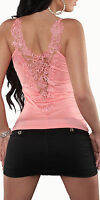 Womens Pink Lilac Black Yellow Peach Crochet Lace Strappy Vest Top Sz 8 10 12 14