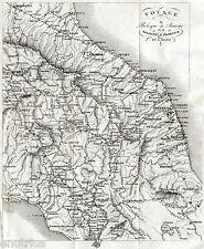 CARTA DI VIAGGIO: BOLOGNA,ANCONA,FIRENZE,ROMA. SAN MARINO.L'AQUILA. ARTARIA.1836