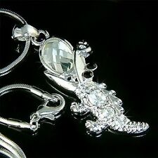 w Swarovski Crystal Gator ~CROCODILE alligator Charm Pendant Chain Necklace Xmas