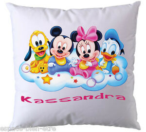 Coussin Disney Baby Mickey, Minnie personnalisé avec prénom