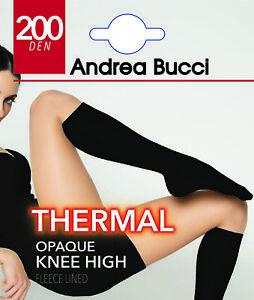 Andrea Bucci 200 Denier Thermal Fleece Lined Opaque Knee Highs