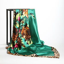 "Women's Fashion Green Leopard-Flower Silk-Satin Square Scarf  Big Shawl 35""*35"""