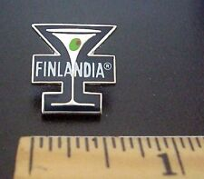 FINLANDIA VODKA FINLAND COCKTAIL GLASS WITH OLIVE ADVERTISING PIN