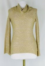NWT Cremieux Gold Sequin Cowl Neck, Bell Sleeve Tunic Light Sweater Size XS $79