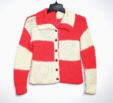 Handmade - S - Coral & Ivory Color Block Wool Popcorn Knit Cardigan Sweater