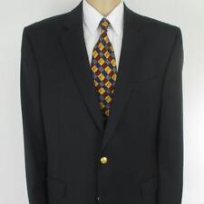 46 L Patrick James Navy Blue Black Wool 2Btn Mens Jacket Sport Coat Blazer Mint