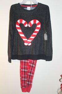 NEW Secret Treasures Christmas pajamas women's fleece red candy cane plaid