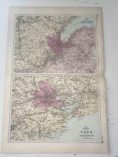 c1889 Belfast Cork British Isles Map Bacon Antique Vgc