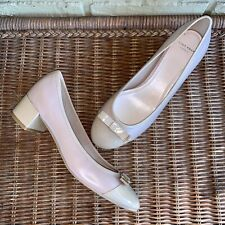 Cole Haan Women's 8.5 Grand.os Waterproof Leather Beige Patent Cap Toe Heels