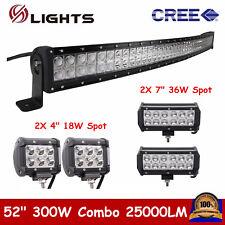 "52"" 300W Curved LED Combo Light Bar+2x 7"" 36W Spot+4"" 18W Pod Lights OffRoad SUV"