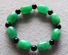 Oval Green Jade Tibet Buddhist Prayer Beads Mala Bracelet Happy Meaning Emotion