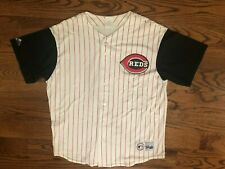 Cincinnati Reds Baseball Vintage Pinstripe Majestic Button Up Jersey Men's XL