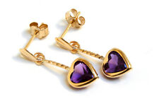 9ct Gold Amethyst Heart Drop dangly earrings Gift Boxed Made in UK Christmas